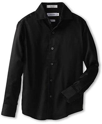 Calvin Klein Kids Sateen Shirt (Big Kids) (Black) Boy's Long Sleeve Button Up