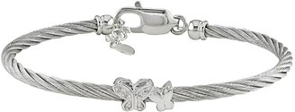 Ice.com Stainless Steel White Cable Bangle with Silver Butterfly & Silver Lobster Clasp
