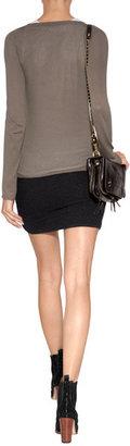 James Perse Cotton Blend Mini-Skirt in Black Melange