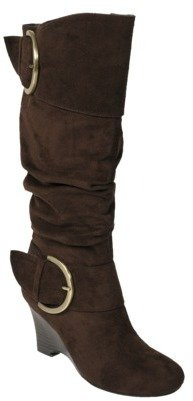 ADI Womens Glaze by Faux Suede Buckle Accent Tall Boot