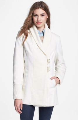 Vince Camuto Wool Blend & Knit Toggle Coat