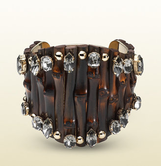 Gucci Bamboo Cuff With Black Crystals
