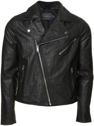 Topman Black Leather Look Biker Jacket