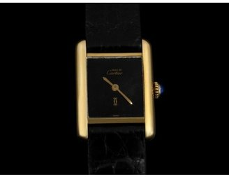 Cartier excellent (EX Vintage 18k Gold Plate over Sterling Silver Tank Ladies Manual Watch