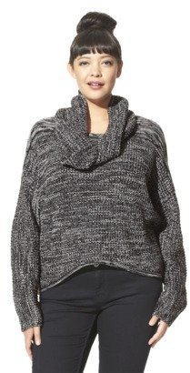 labworks Women's Plus-Size Long-Sleeve Sweater w/Removable Cowl - Black/White