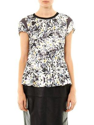 Rebecca Taylor Diamond-print capped sleeve blouse
