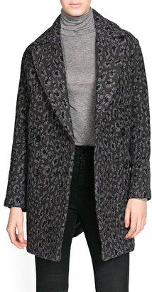 MANGO Oversize leopard wool-blend coat
