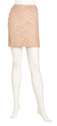 Catherine Malandrino Leather Ponte Skirt, Nude