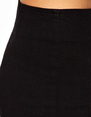 Asos TALL High Waist Denim Hot Pant in Clean Black