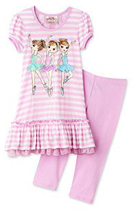 Beautees Girls' 4-6X Purple Striped 3D Ballerina Set