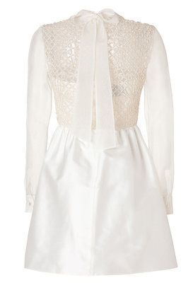 Valentino Cotton-Silk Embellished Dress