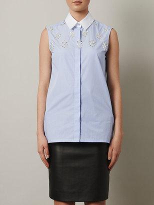 Altuzarra Banker-stripe embellished sleeveless shirt
