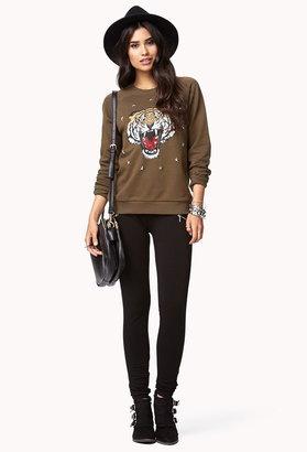Forever 21 studded tiger sweatshirt