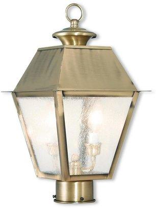 Livex Lighting Mansfield 2-Light Outdoor Antique Brass Post Light
