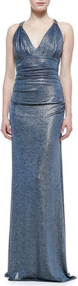 David Meister Sleeveless Ruched Metallic Gown, Blue/Gold