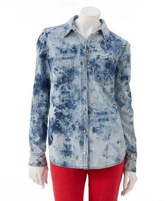 Rock & Republic feather-bleach chambray shirt