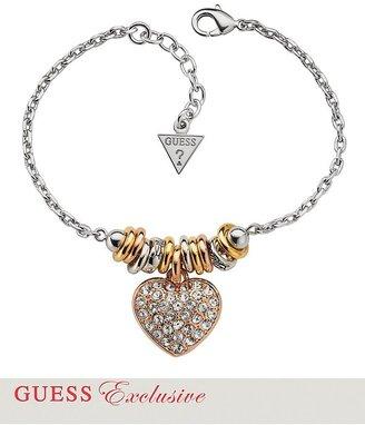 GUESS Mixed-Metal Pavé Crystal Heart Charm Bracelet