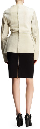 Lanvin Seamed Shearling Peplum Jacket and Bicolor Neoprene Pencil Skirt