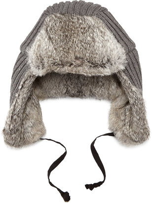 Hat Attack Rabbit Fur-Lined Trapper Hat, Charcoal