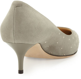Jimmy Choo Aza Studded Suede Point-Toe Pump, Gray