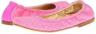 Fendi Girls Hot Pink Logo Ballerina Flat (Little Kid/Big Kid) (Hot Pink) - Footwear