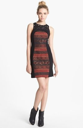 BB Dakota 'Aria' Mixed Media Sheath Dress