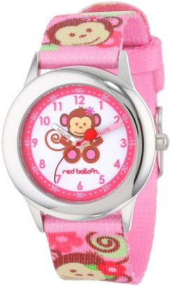 """Monkey Time Red Balloon Kids' W000336 """"Pretty Girl Teacher"""" Stainless Steel Watch with Pink Nylon Band"""