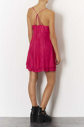 Topshop Jaquard Satin Swing Slip Dress