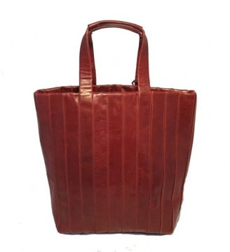 Reed Krakoff excellent (EX Dark Red Leather Pleated Tote Bag