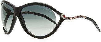 Roberto Cavalli Round Acetate Serpent-Temple Sunglasses, Black