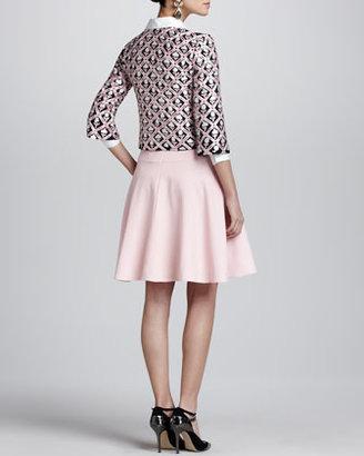 Oscar de la Renta Floral Jewel-Neck Jacket, Navy/Pink