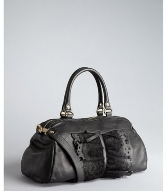 RED Valentino black ruffle leather and lace convertible tote