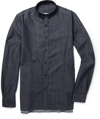 Lanvin Slim-Fit Grosgrain-Collar Chambray Shirt