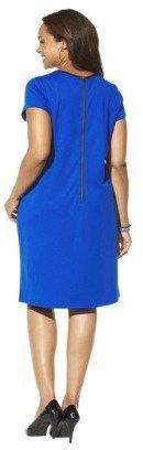Merona Women's Plus-Size Short-Sleeve Faux Leather Trim Shift Dress - Assorted Colors