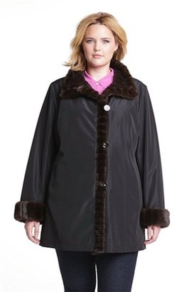 Gallery Storm Coat with Faux Fur Lining & Trim (Plus Size)