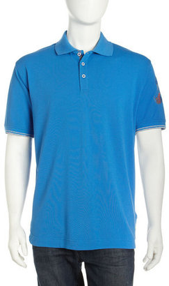 Robert Graham Afterglow Embroidered Sleeve Polo, Blue