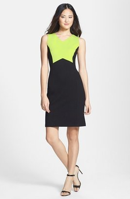 Kenneth Cole New York 'Andrea' Colorblock Sheath Dress (Petite)
