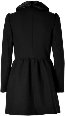 RED Valentino Wool Blend Coat with Removable Mink Collar