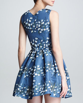 RED Valentino Sweetheart-Neck Floral Fit-and-Flare Dress, Blue