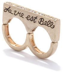 Rachel Roy Two Finger Verbiage Bar Ring
