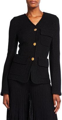 St. John Moss Stitch Knit V-Neck Jacket
