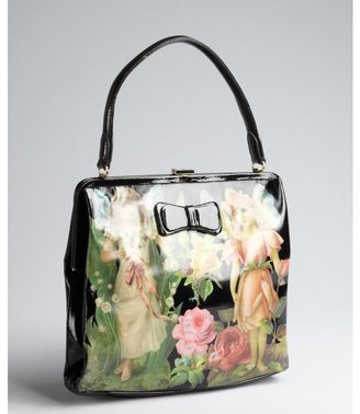 RED Valentino black faerie printed patent leather top handle bag