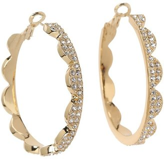 Kate Spade Scallop Pav Hoops (Clear/Gold) - Jewelry