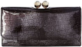 Ted Baker Metallic croc large flapover french purse