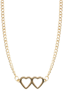 Asos Double Heart Charm Pendant Necklace