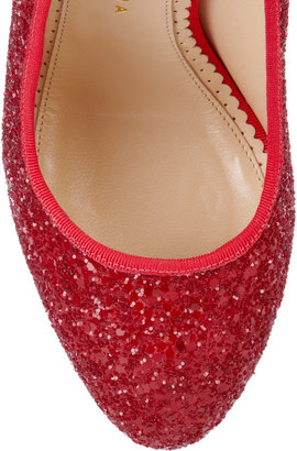 Charlotte Olympia Priscilla glitter-finished leather pumps