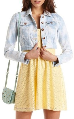 Charlotte Russe Dollhouse Marble Wash Denim Jacket