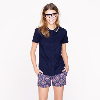 Lee Collection jeweled-collar short-sleeve shirt