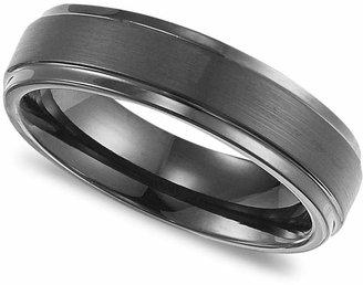 Triton Men Black Tungsten Carbide Ring, Comfort Fit Wedding Band (6mm)