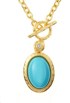 Kenneth Jay Lane Cabochon Pendant Toggle Necklace, Turquoise
